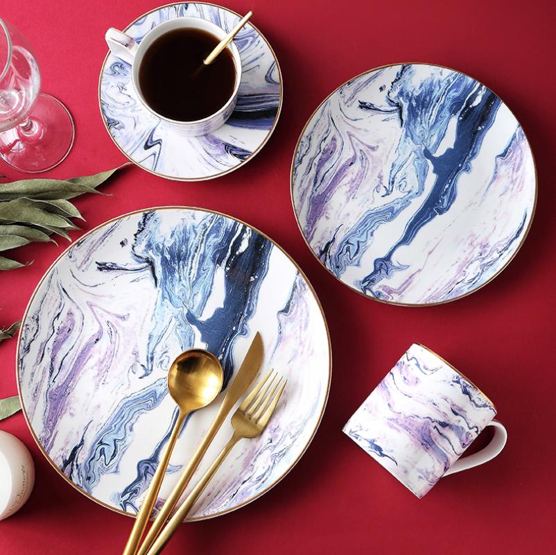 Plato de porcelana con incrustaciones de oro plato de cena plato de carne de mármol nórdico vajilla casera Taza de cerámica café taza de leche Envío Directo
