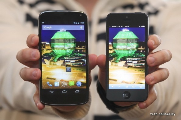 El supuesto LG Nexus junto al iPhone 5