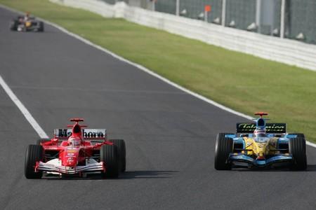 Schumacher Alonso Suzuka F1 2005