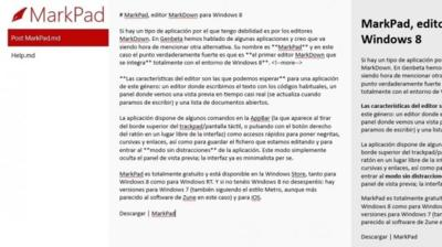MarkPad, editor MarkDown para Windows 8