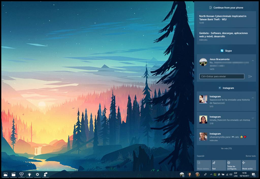 Centro De Actividades Windows® 10(diez) Fall Creators Update