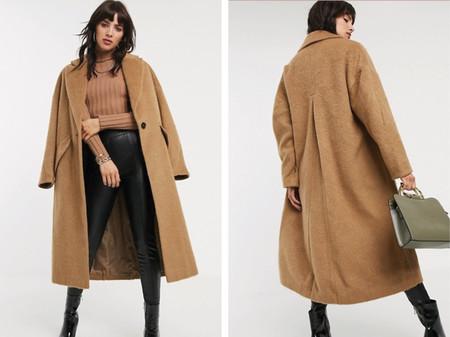 Abrigo Texturizado Color Camel De Topshop