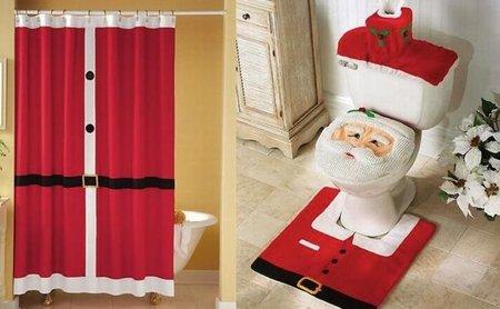 baño navidad rojo