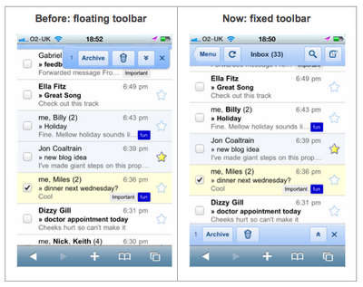 Google mejora Gmail para Safari móvil