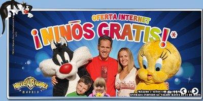 Niños gratis en la entrada al Parque Warner de Madrid