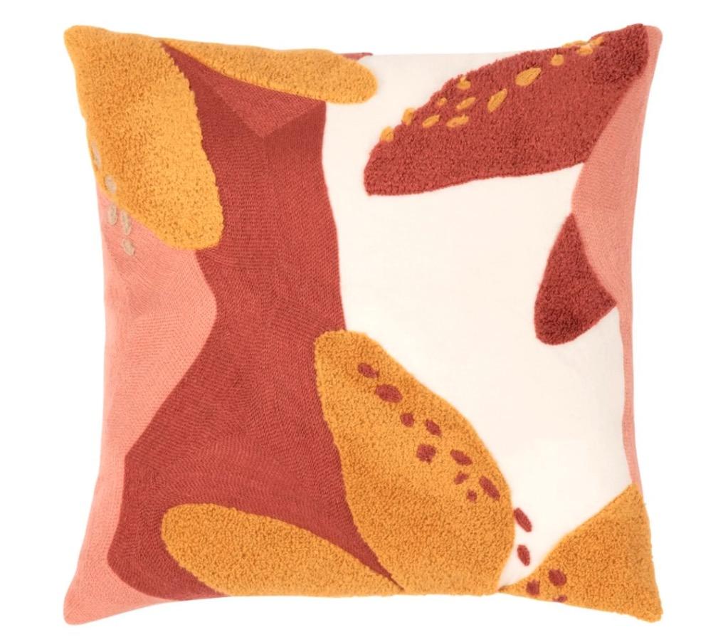 Funda de cojín de algodón de color rosa, crudo y amarillo con motivos decorativos 40x40