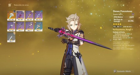 Armas para Albedo Genshin Impact