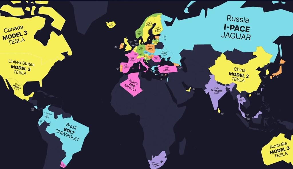 Este mapa nos muestra los coches eléctricos más vendidos en cada país, con el Tesla Model 3 triunfando