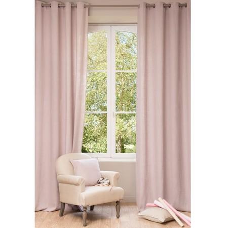 Cortinas de lino rosa