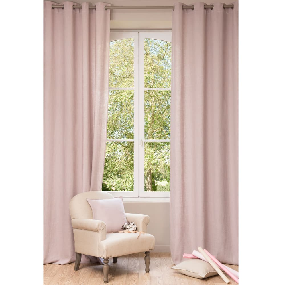 Cortina de lino rosa