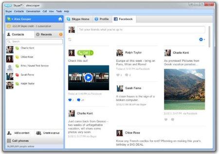 Nueva interfaz mejorada de Facebook en Skype para Windows