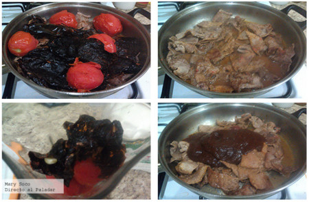 Bisteces en salsa de chile ancho. Pasos