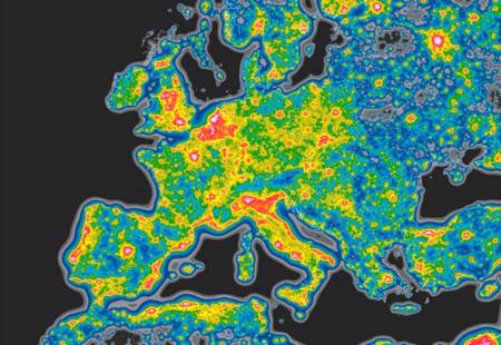 La contaminación lumínica mundial, ilustrada en este mapa sobre la visibilidad de las estrellas