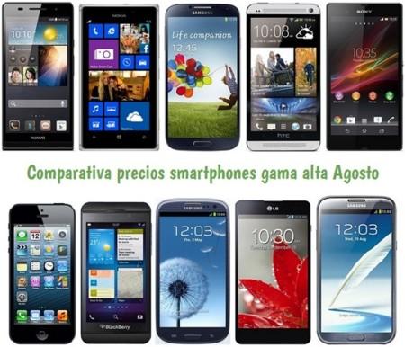 Comparativa Precios Lumia 925, Galaxy S4, HTC One, Xperia Z, iPhone 5 y otros gama alta en Julio de 2013