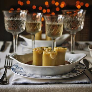 Paccheri rellenos de boletus y jamón ibérico, receta para una celebración especial