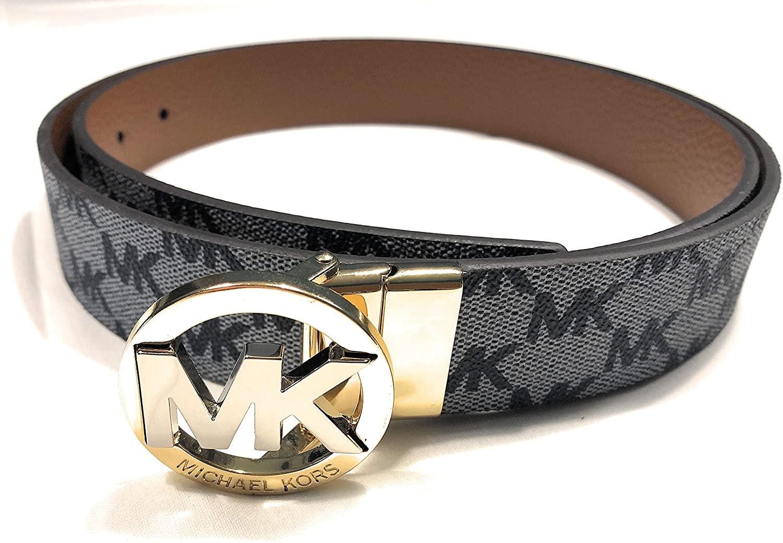 Michael Kors Cinturón gris y marrón I Piel auténtica I Cinturón reversible I Talla M I Longitud 104 cm con hebilla I 3 cm de ancho I Cinturón de mujer 2932