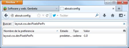 Firefox 22, ajuste del tamaño de fuentes en Windows