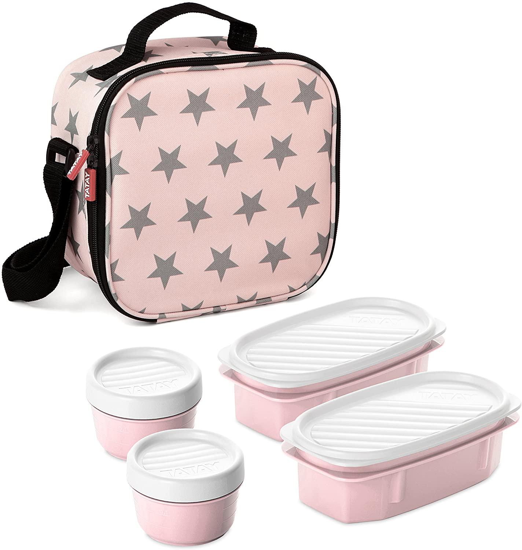 TATAY Bolsa Térmica Urban Food Casual, 3L de Capacidad, con 4 Tuppers Herméticas, 2 x 0.5L, 2 x 0.2L, Color Rosa con Estrellas, Medidas 22.5 x 10 x 22 cm