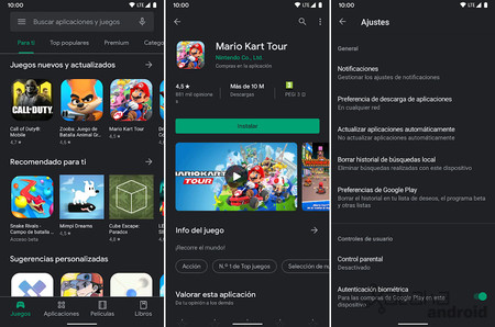 Google Play Store Tema Oscuro