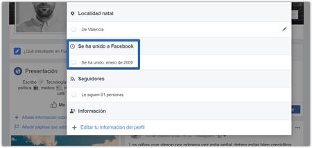 Fecha Cuenta Facebook