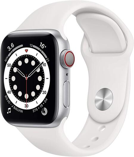 Nuevo Apple Watch Series 6 (GPS + Cellular) - Caja de aluminio color plata de 40 mm - Correa deportiva blanca