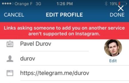 Alerta de Instagram al tratar de ingresar un enlace de Telegram