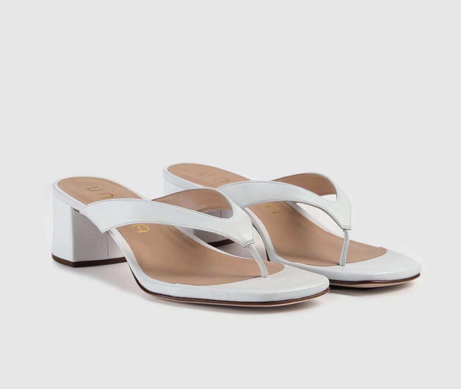 Sandalias de tacón de muejr Unisa de piel en color blanco