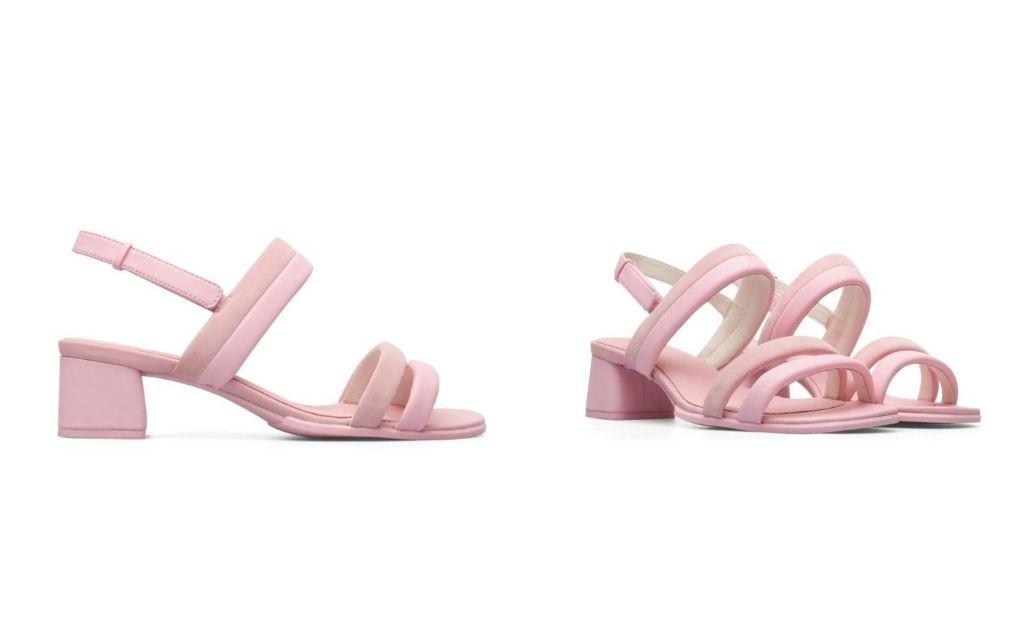 Sandalias de tacón de mujer Camper en piel color rosa