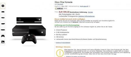 Xbox One aparece en Amazon Alemania por 600 euros