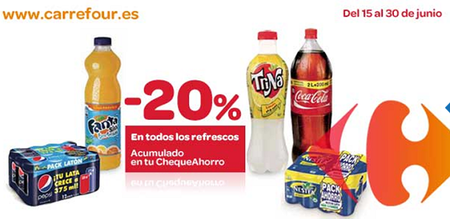 20% en refrescos en hipermercados Carrefour
