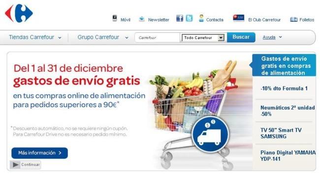 carrefour gastos de envío gratis alimentación