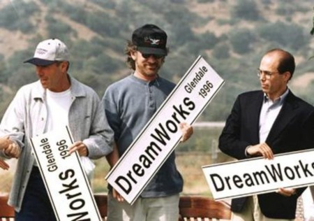 David Geffen, Steven Spielberg y Jeffrey Katzenberg, creadores de DreamWorks