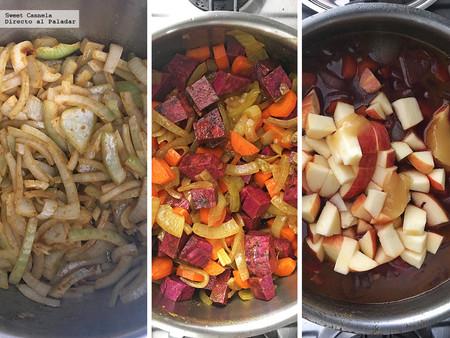 Sopa manzana camote zanahoria