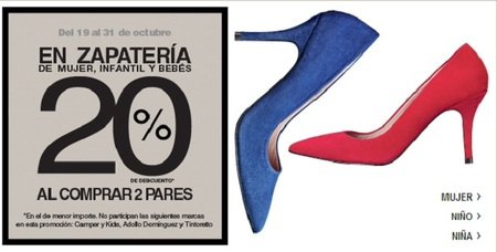 Paga un 20% menos en zapatos de mujer, infantil y bebé en 'El Corte Inglés' al llevarte dos pares