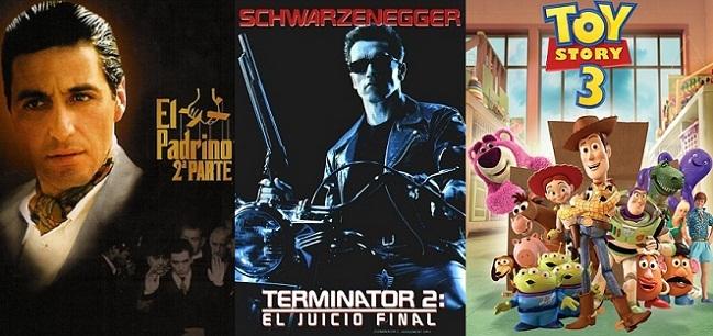 Imagen con los carteles de 'El Padrino 2', 'Terminator 2' y 'Toy Story 3'