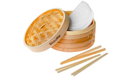 Vaporera De Bambu 25cm Para Arroz Dim Sum Verduras Carne Y Pescado Vaporera Bambu Para Cocinar Al Vapor Con 2 Pisos 2 Pares De Palillos Reutilizable 1 Pinzas Y 50 Papeles Para Cocinar Al Vapor
