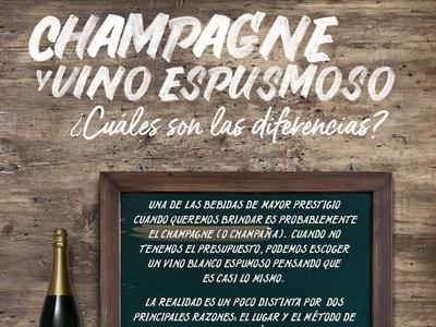 ¿Cuales son las diferencias entre champagne y vino espumoso? Infografía