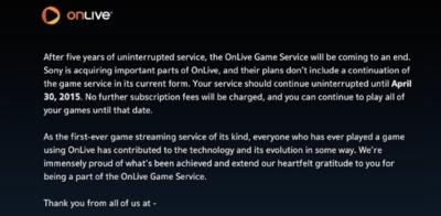 Sony se hace con las patentes de OnLive y éste cerrará su servicio de juegos en streaming en abril