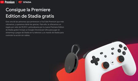 Google comienza a regalar en España el Chromecast Ultra y una suscripción a Stadia Premire a los usuarios de YouTube Premium