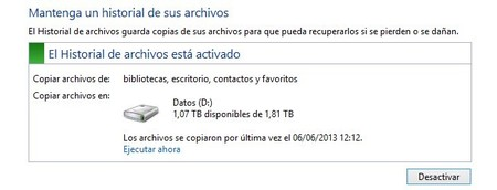 Historial de archivos en Windows 8