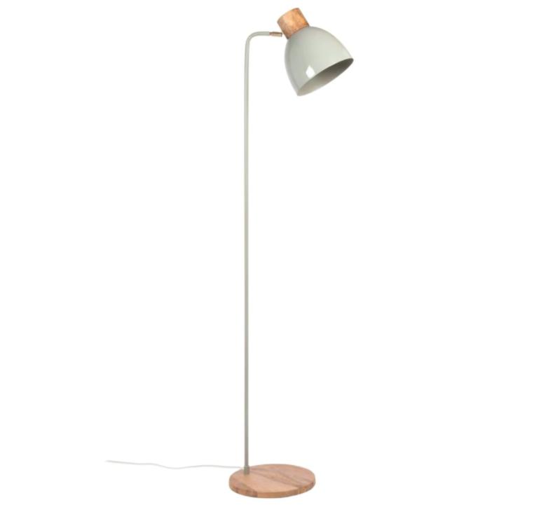 Lámpara de pie de mango y metal blanco