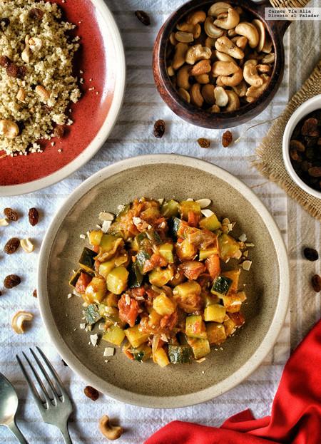 Tajine de verduras al ras el hanout con cuscús