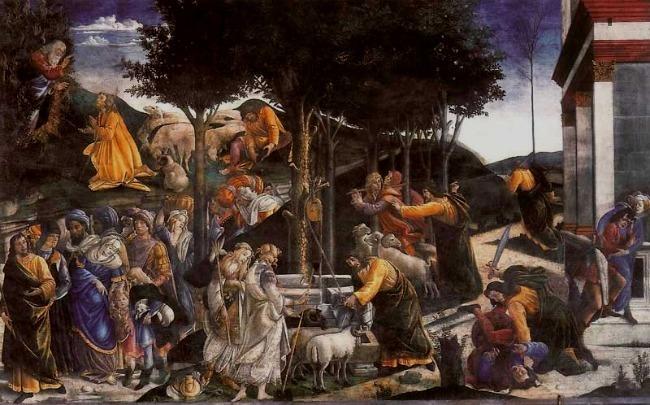 Capilla Sixtina. Las tentaciones de Moises.Boticelli.