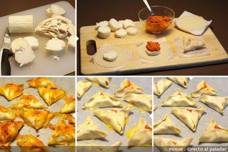 Empanadilla de queso y sobrasada - elaboración