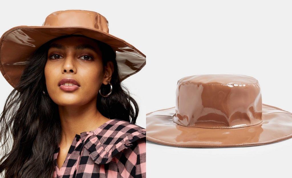Sombrero tostado de vinilo de Topshop