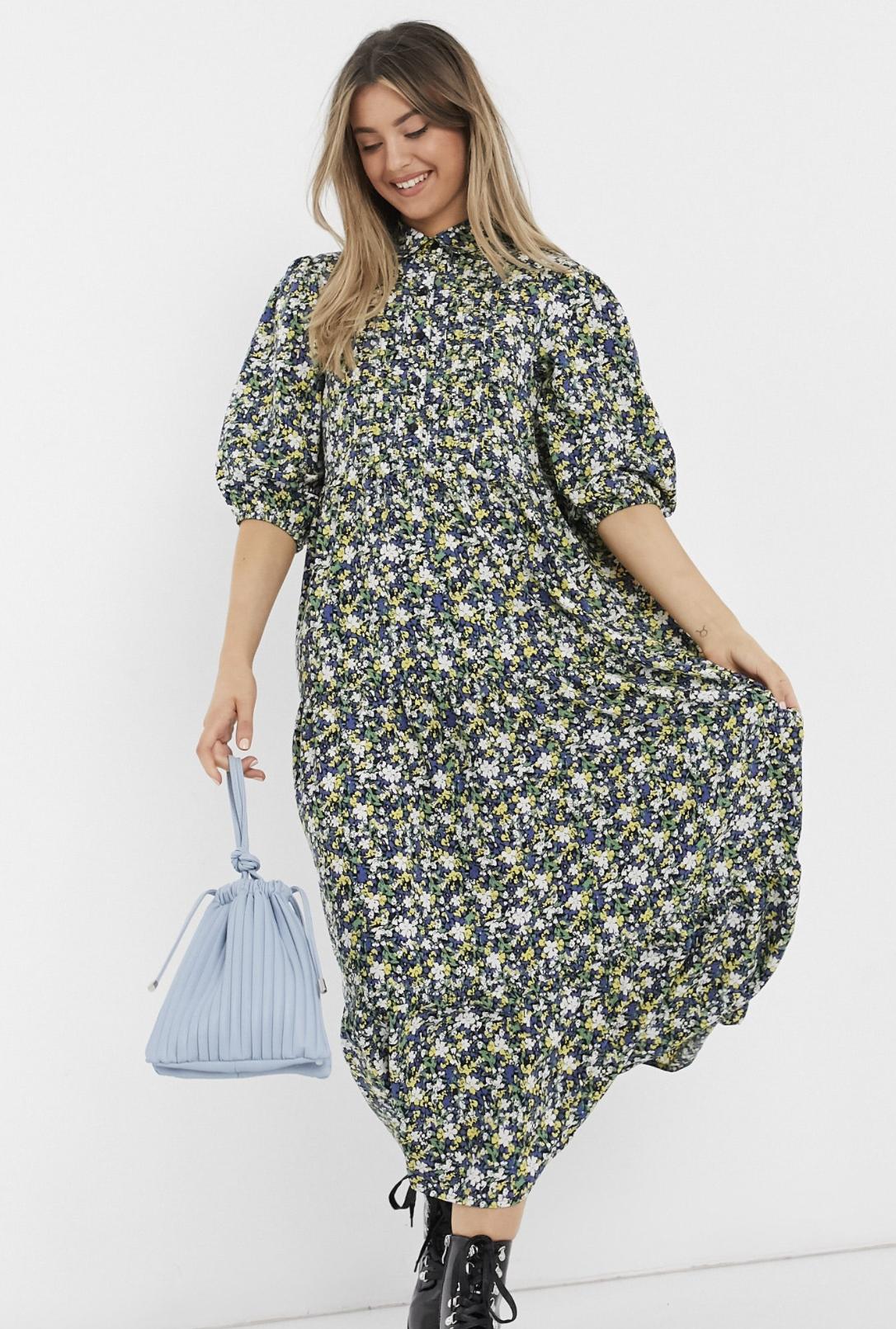 Vestido camisero escalonado con pliegues y estampado de flores de ASOS DESIGN