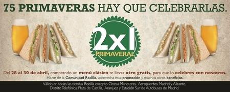 2x1 primaveral en restaurantes Rodilla, del 28 al 30 de abril