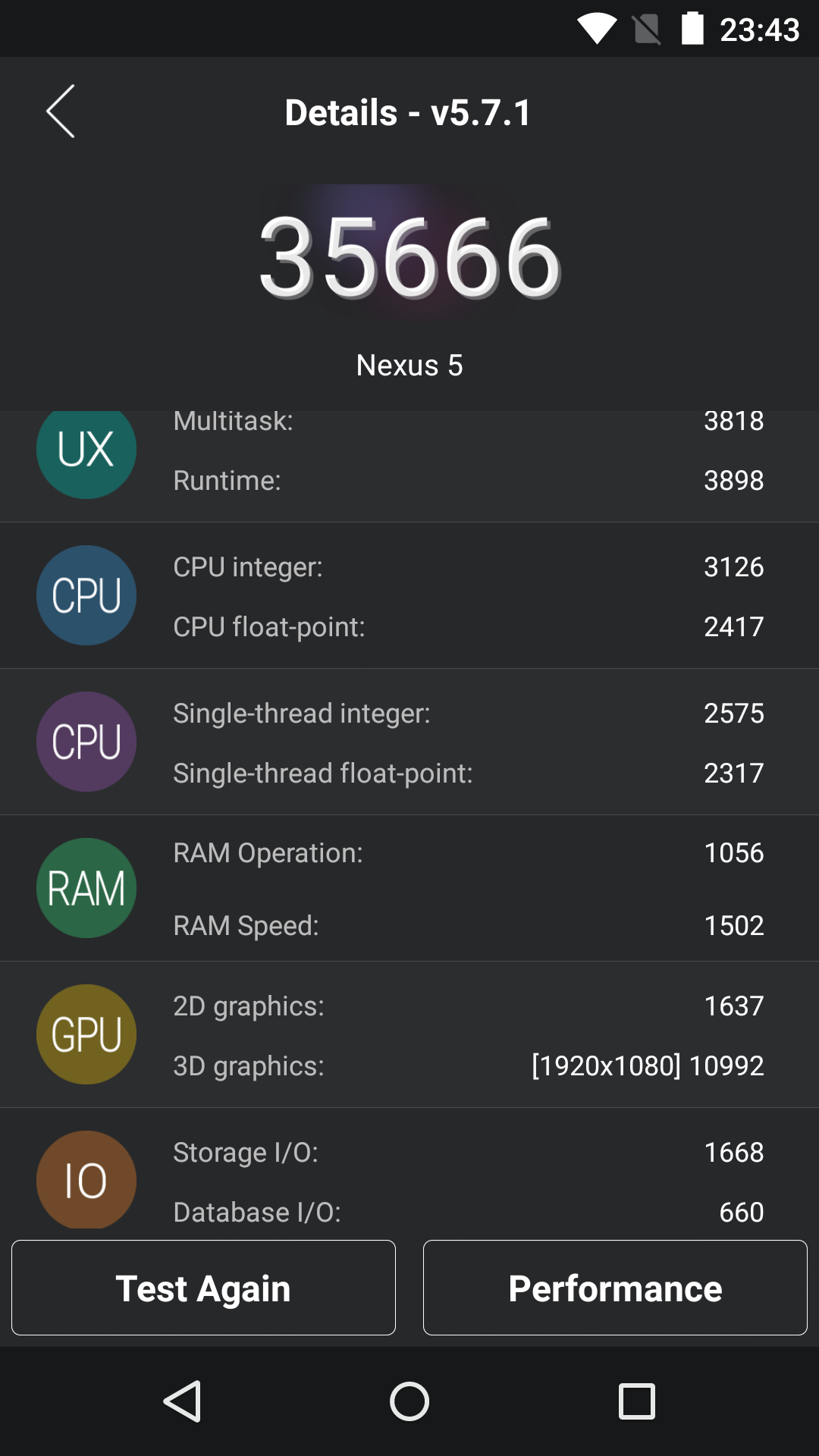Benchmarks Nexus 5 Android 5 1 1 8 43