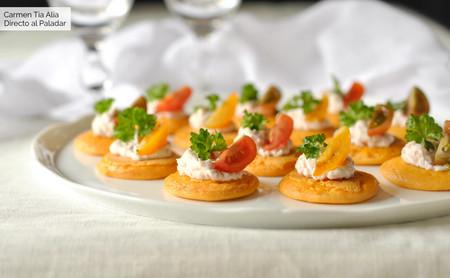 Blinis de gazpacho con crema de jamón y queso, receta fácil de aperitivo con y sin Magimix Cook Expert