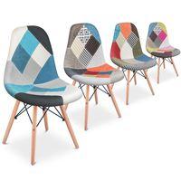 Por 69 euros en eBay tenemos este pack de dos sillas comedor vintage tapizadas estilo Patchwork multicolor de McHaus